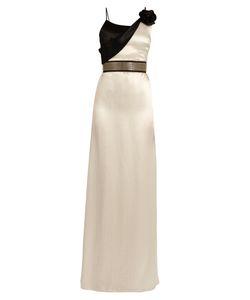 Lanvin | Flower-Embellished Draped-Neck Satin Gown