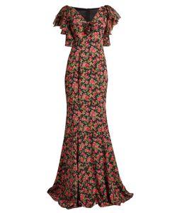 Dolce & Gabbana   Rose-Print Ruffle-Sleeved Chiffon Gown