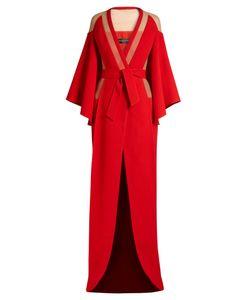Balmain   V-Neck Tie-Waist Panelled Crepe Gown
