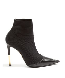 Balmain | Aurore Point-Toe Knitted Ankle Boots