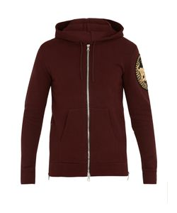 Balmain | Logo-Patch Cotton Hooded Sweatshirt