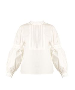 Tibi | Ruched-Sleeve Cotton-Poplin Top