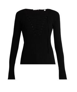 A.L.C. | Solana Lace-Up Ribbed-Knit Top