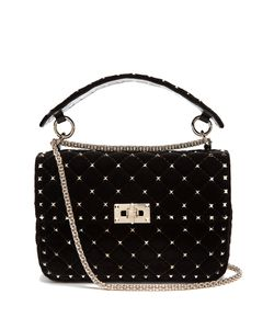 Valentino | Rockstud Spike Quilted-Velvet Shoulder Bag