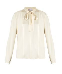 Red Valentino | Tie-Neck Crepe Blouse