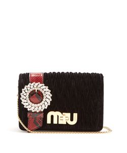Miu Miu | Snakeskin-Trimmed Velvet Cross-Body Bag