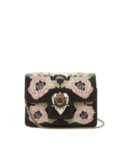 Alexander McQueen | Heart Mini Poppy-Embroidered Leather Shoulder Bag