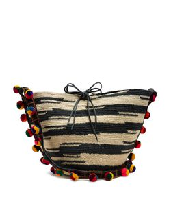 Sensi Studio | Akela Pompom-Embellished Sisal Cross-Body Bag