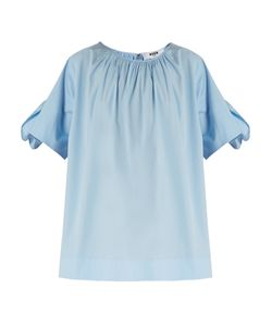 MSGM | Gathered-Neck Cotton-Poplin Top