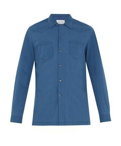 Maison Margiela | Half-Zip Panel Point-Collar Cotton Shirt