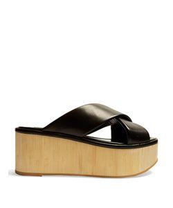 Robert Clergerie   Cross-Strap Leather Flatform Sandals
