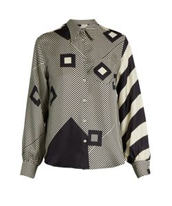 HILLIER BARTLEY | Graphic-Print Silk Shirt