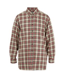 Raf Simons | Button-Down Collar Checked Linen-Blend Shirt