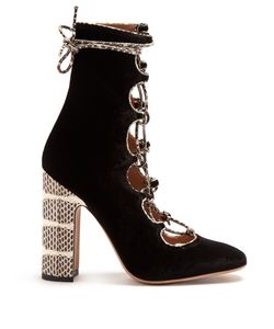 Valentino | Lace-Up Velvet Ankle Boots