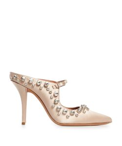 Givenchy | Crystal-Embellished Point-Toe Satin Mules