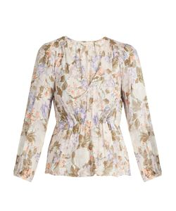 Rebecca Taylor | Penelope Rose-Print Silk And Cotton-Blend Blouse