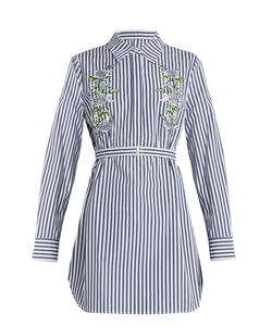 Adam Lippes | -Embroide Pinstriped Shirtdress