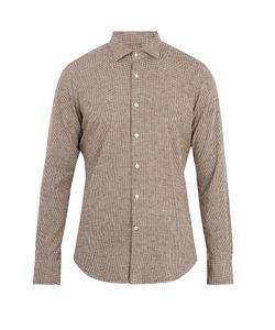 Glanshirt | Spread-Collar Micro-Checked Cotton Shirt