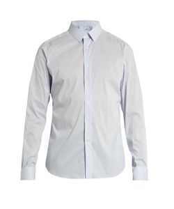 Valentino | Button-Cuff Striped Cotton-Blend Shirt