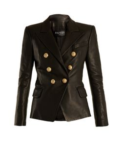 Balmain | Double-Breasted Leather Blazer