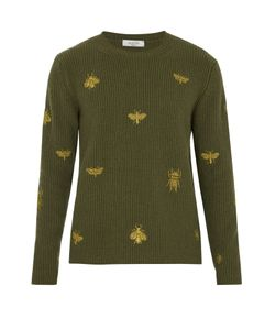 Valentino | Bee-Embroidered Wool And Cashmere-Blend Sweater
