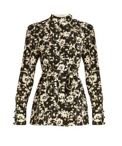Valentino | Circle Flower-Print Silk Crepe De Chine Top