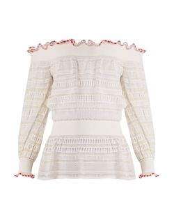 Alexander McQueen | Ruffle-Trimmed Off-The-Shoulder Ladder-Lace Top