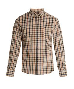 A.P.C. | Checked Cotton And Linen-Blend Shirt