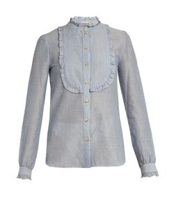 Vanessa Bruno | Engel Ruffled-Bib Striped Cotton-Blend Shirt