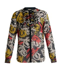 Mary Katrantzou | Ruffled-Neck Silk Blouse