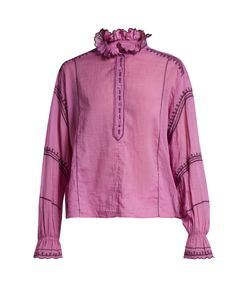 Isabel Marant Étoile | Louna Frilled-Collar Embroidered Blouse