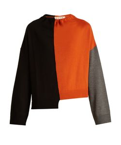 Marni | Tri-Colour Ruched-Neck Wool Knit Sweater