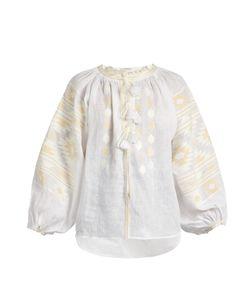 Vita Kin   Kilm Embroidered Linen Blouse