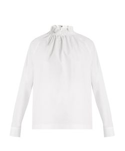 MSGM | High-Neck Ruffled Stretch-Cotton Top