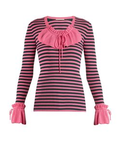 Marco De Vincenzo | Ruffle-Trimmed Striped Ribbed-Knit Sweater