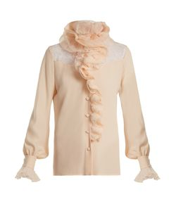 Lanvin   Ruffle-Trimmed Lace-Insert Silk Blouse