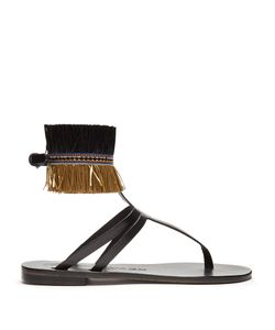 ÁLVARO | Ariana Raffia-Embellished Leather Sandals