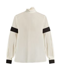 Amanda Wakeley | High-Neck Bi-Colour Silk Crepe De Chine Blouse