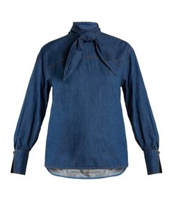 Muveil | Tie-Neck Chambray Top