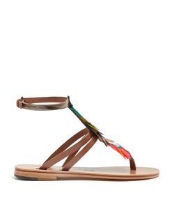 ÁLVARO | Ariana Feather-Embellished Leather Sandals