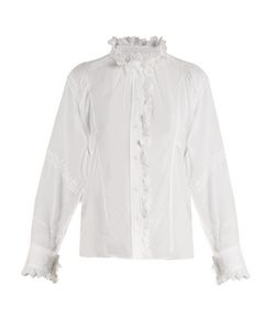 Isabel Marant Étoile | Lauryn Ruffle-Trimmed Embroidered Cotton Blouse