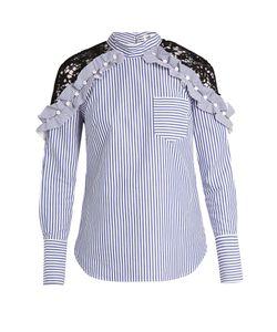 SELF-PORTRAIT | Lace-Shoulder Striped Cotton Top