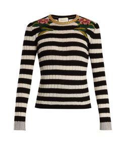 Gucci | -Embroidered Striped Cashmere-Blend Sweater