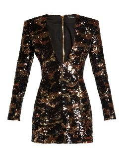 Balmain | Deep V-Neck Sequin Mini Dress
