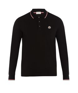 Moncler | Striped-Trim Cotton-Piqué Polo Shirt