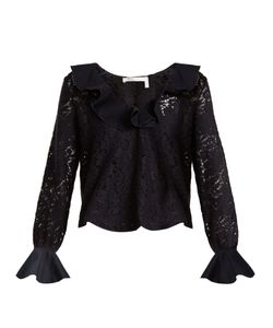 See By Chloe | Ruffled-Neck Lace-Knit Top