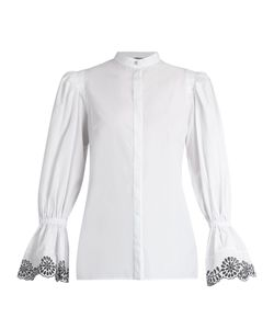 Alexander McQueen | Broderie-Anglaise Trimmed Cotton Blouse