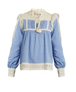 Sea | Column Lace-Trimmed Chambray Top
