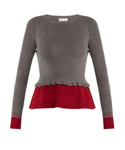 Red Valentino | Peplum Contrast-Hem Wool Sweater