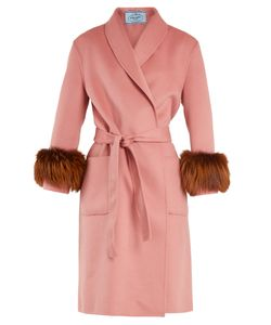 Prada | Fur-Trimmed Shawl-Lapel Blend Coat